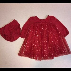 Red tulle baby dress